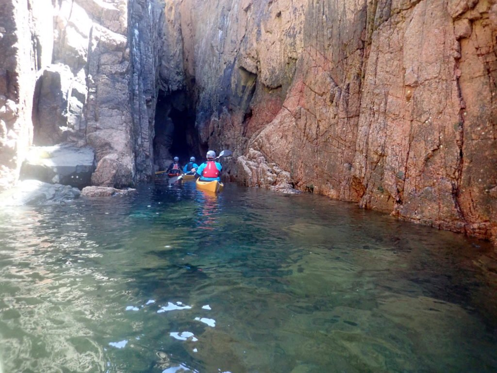 Sea kayaking in Jersey caves